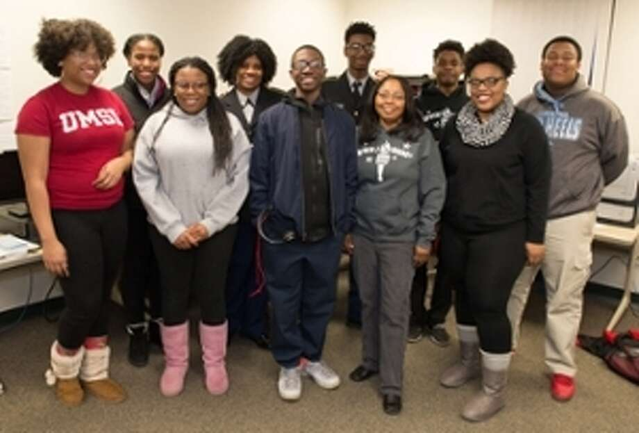 Shown are the students in the Southern Illinois University Edwardsville's Upward Bound's first I Am EStL, The Magazine writing class. Front row from left to right, Dajanae Jackson, DeAnjanea' Mayes, Armani Rodgers, Angela Burrage, Tia Fisher and De'Vion Tucker. Back row from left to right, Tianna Fisher, Cierra Bearden, Malik Franklin and Antoine Williams. Photo: For The Telegraph