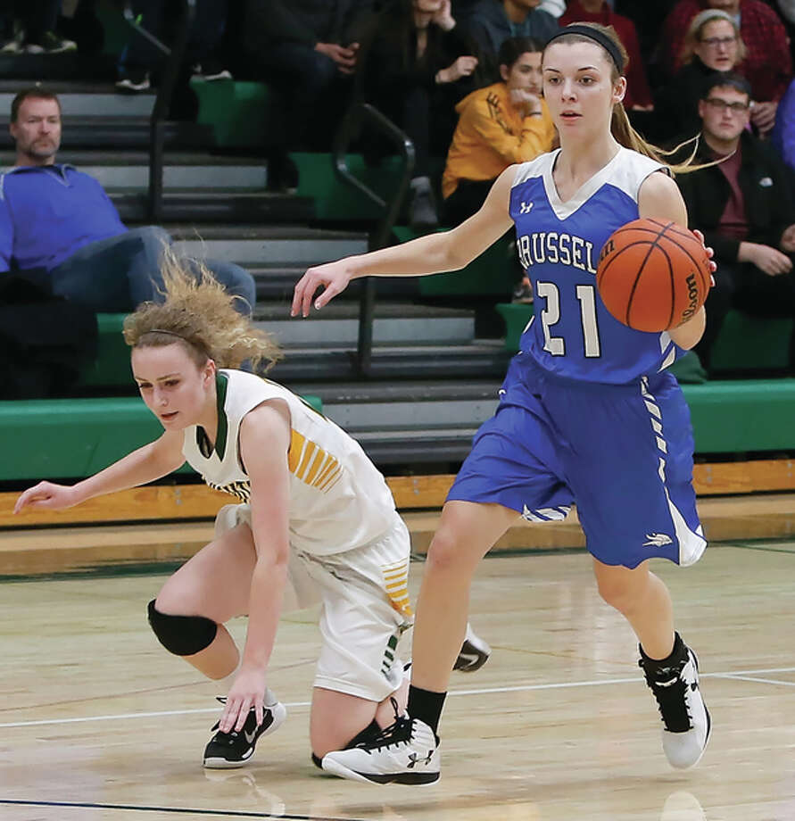 Brussels' Baylee Kiel (right) pushes the ball upcourt while Metro East Lutheran's Maddie Stewart falls to the court during the Raiders' victory Thursday in Edwardsville. Kiel is five points away from the program's all-time scoring record of 1,706 points. Photo: Scott Kane / For The Telegraph