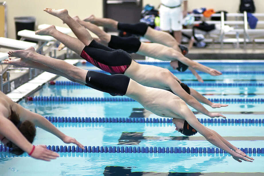 Edwardsville High's boys swim team had first-place finishes in all 12 events Tuesday in its 133-46 cvictory over Jacksonville Routt at the Chuck Fruit Aquatic Center. Photo: Telegraph File Photo