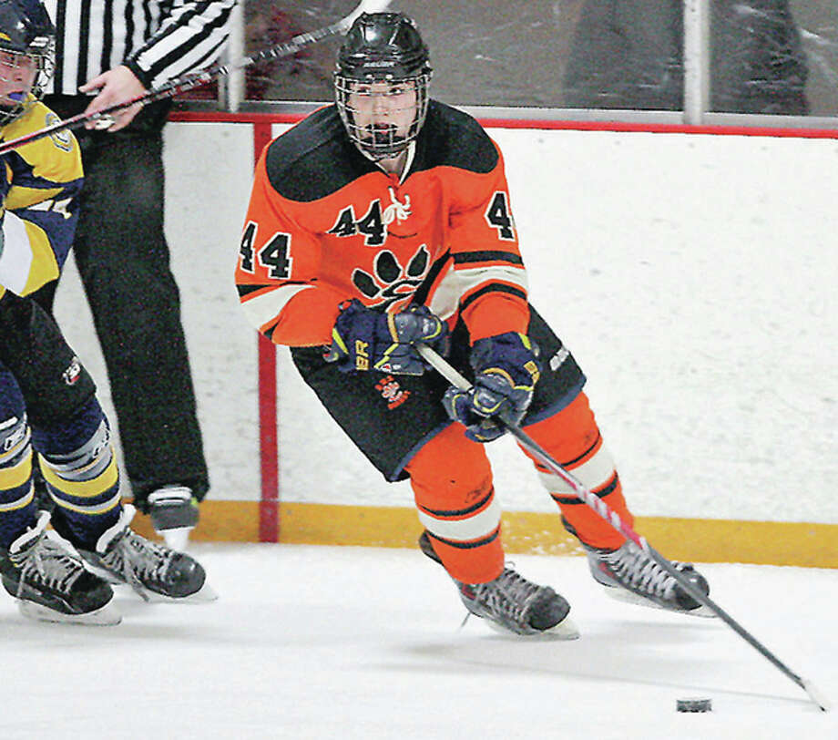 Edwardsville's Tyler Schaeffer had an assist in Edwardsville 1-1 Mid-States Hockey Association tie with CBC Thursday night at the east Alton Ice Arena. The game was Edwardsville's first 'home' game at East Alton since joining Mid-States this season. Edwardsville is 10-3-1 this season and will play its next two games at East Alton. Photo: Telegraph File Photo