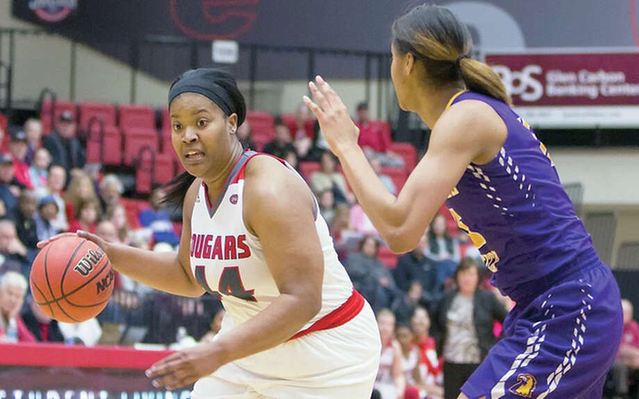 Gwen Adams of SIUE, left, scored 18 points and had 13 rebounds in her team's win over Tennessee Tech Saturday at the Vadalabene Center. Photo: SIUE Athletics