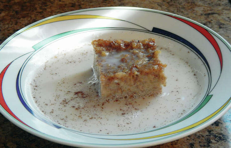 "Bread pudding is a simple dish, and cinnamon-sugar milk provides a simple ""sauce""."