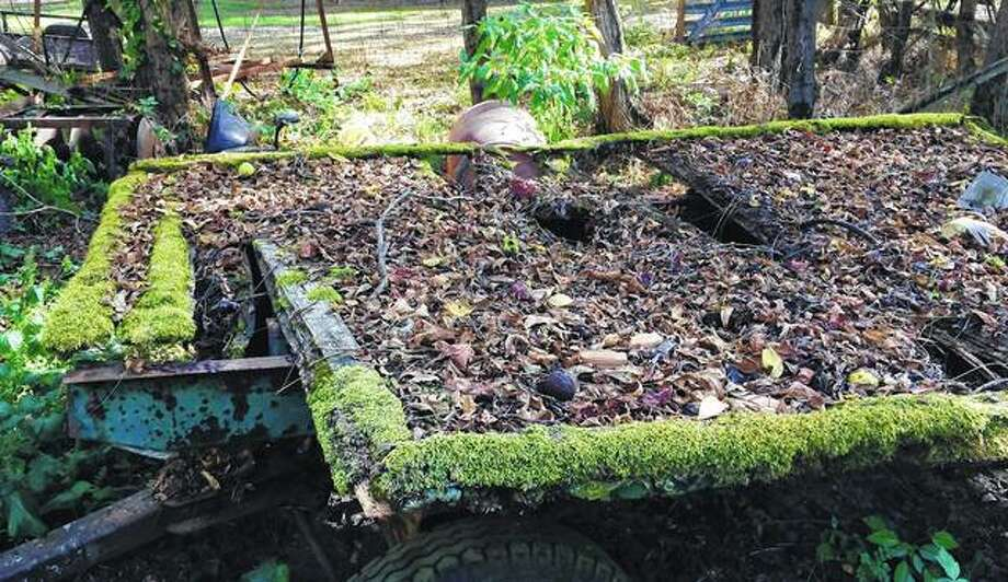 Nature creates its own homecoming float, with moss edging an old hay wagon filled with leaves. Photo: Amy Turpin | Reader Photo