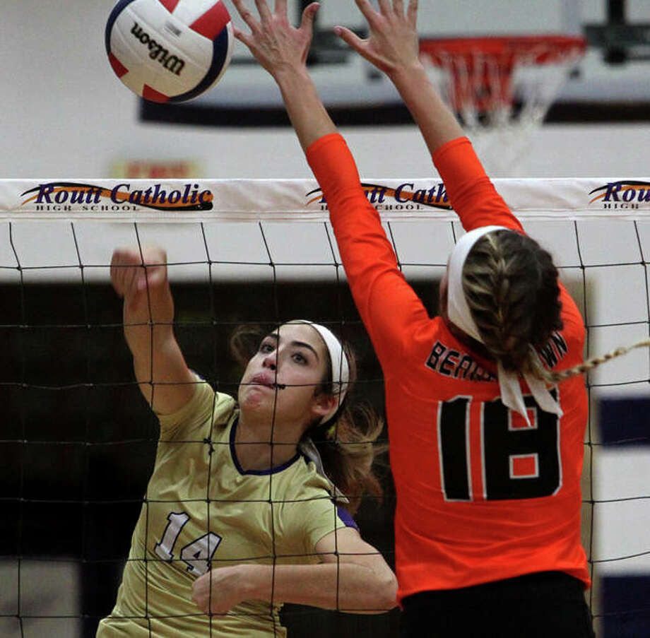 Routt's Bella Powell spikes the ball during a match against Beardstown at the Routt Dome in Jacksonville Thursday night. Photo: Dennis Mathes | Journal-Courier