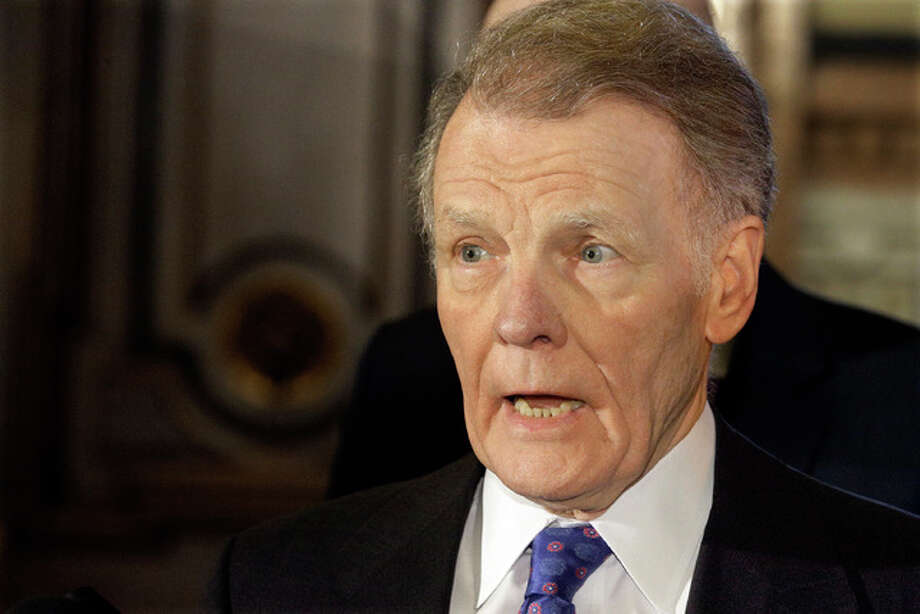 In this Nov. 30, 2016 file photo, Illinois Speaker of the House Michael Madigan, D-Chicago, speaks to reporters in Springfield, Ill. The nation's longest running state budget stalemate is now half way through its second year, as Illinois continues to wallow in its financial crisis and one General Assembly hands off the problem to the next one. The Illinois Senate is aiming to propose its own solution after a new legislature is sworn in on Wednesday, Jan. 11, 2017.