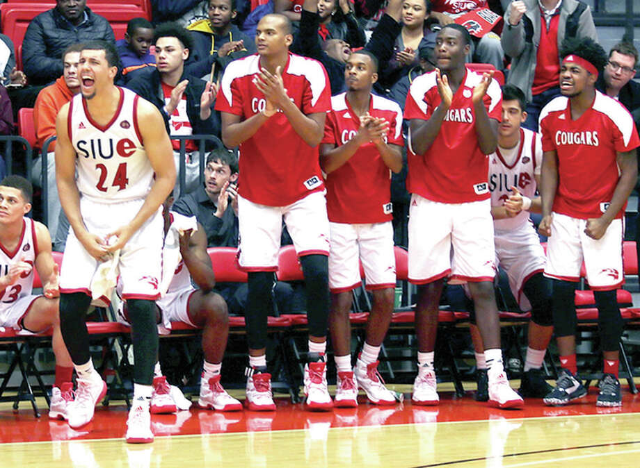 Members of the SIUE men's basketball team cheer their teammates during Thursday night's overtime loss to Austin peay at the Vadalabene Center. Photo: SIUE Athletics