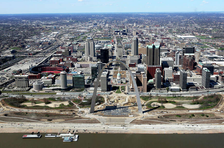 This March 17, 2016, aerial photo shows progress on the renovations of the Arch grounds continues in St. Louis. After long decline, St. Louis is trying to rebuild it's image with business start-ups and investing in major downtown projects. The city's image has taken a hit in recent years due to factors such as racial protests, the loss of the NFL's Rams and the departure of several Fortune 500 companies.