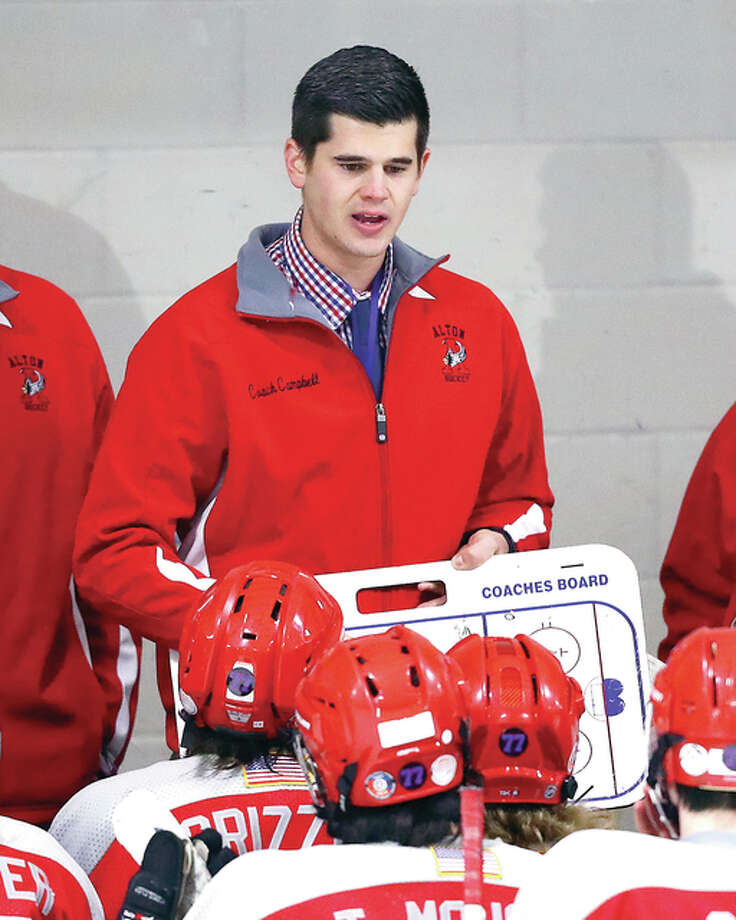 Alton hockey coach Steven Campbell's team skated to a 503 Class 1A victory over Highland Thursday night at the East Alton Ice Arena. Photo: Telegraph File Photo