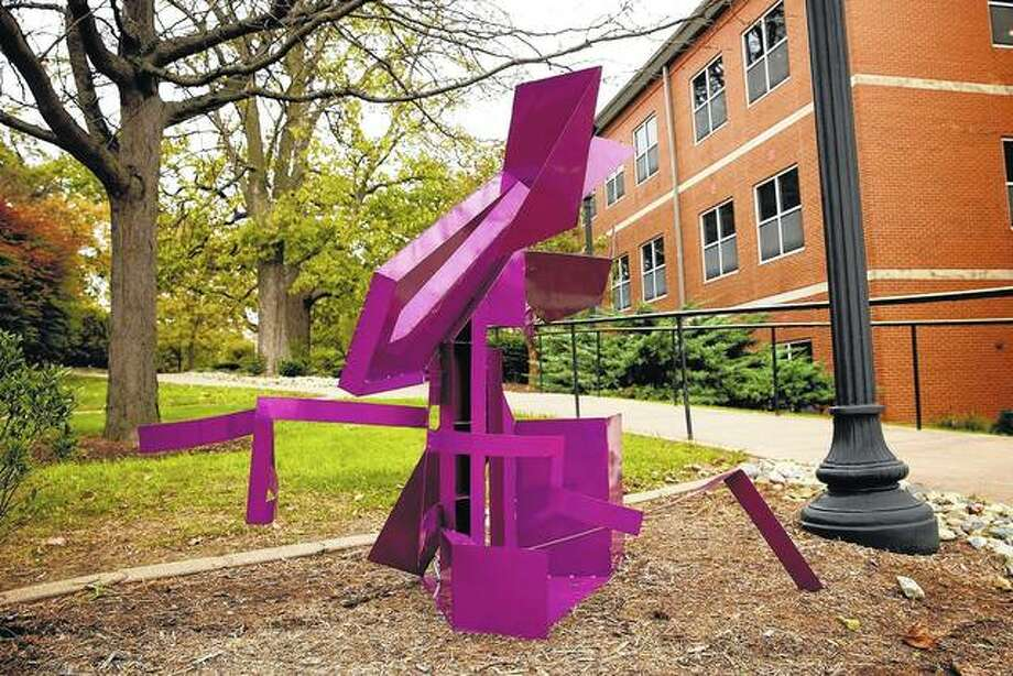Steel sculptures are being displayed throughout the Illinois College campus in locations selected by each art student. Photo: Warmowski Photography