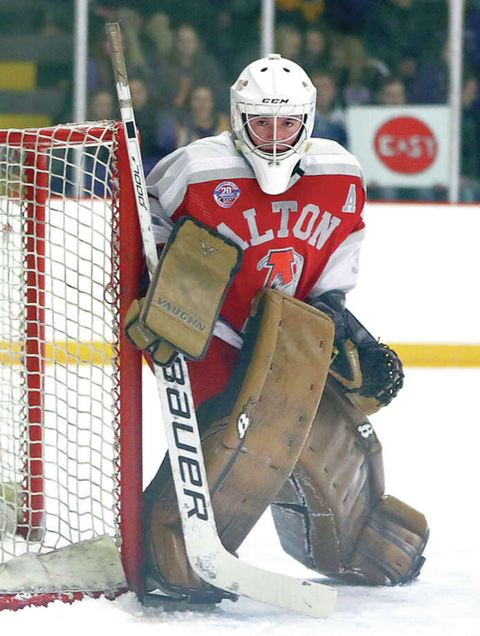 Alton's Caleb Currie made 27 saves in his team's 3-1 victory over first-place Belleville in a Class 1A game Thursday night at the East Alton Ice Arena. Photo: Billy Hurst File Photo | For The Telegraph