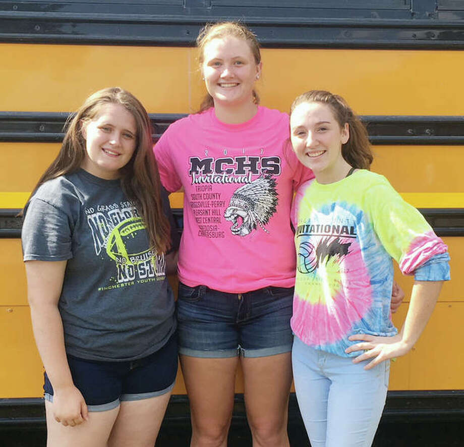 Bluffs FFA members recently attended a forestry competition. The Greenhands, or freshman team, placed third out of six teams with 904 points. Morgan Hoots (center) placed fourth as in individual competition with 440 points. Madison Hopkins (left) and Jayden Ford round out the Greenhands team. Photo: Photo Provided