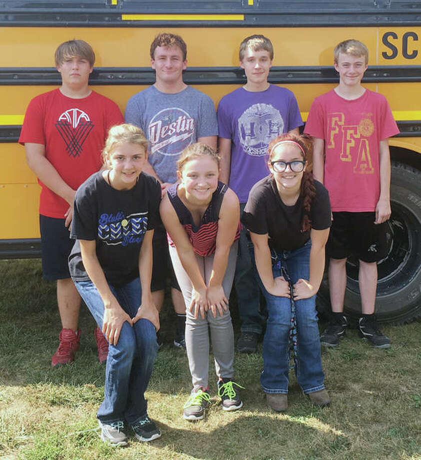 Bluffs FFA members recently attended a forestry competition. The varsity team placed fourth out of eight teams with 1,332 points. Isaiah Winkelman placed fifth as in individual competition with 533 points. Members participating included Caleigh Jones (front row, from left), Claire Bishop, Caitlin Moore, Braidin Hester (back row, from left), Max Schaad, Winkelman and Ethan Buhlig. Photo: Photo Provided