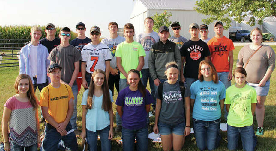 Members of the Franklin FFA livestock judging team recently competed at John Wood Community College. The varsity team placed eighth out of 52 teams. The junior varsity team placed seventh out of 34 teams. Students participating included Kayla Keeton (front row, from left), Luke Bergschneider, Mollie Allen, Samantha Mies, Bethany Bergschneider, Zoe Graves and Isabella Borcky; Ethan Hansell (middle row, from left), Marcus Richards, Jared Miller, Segar Brown, Jimmy Cummins, Quintin Jennings, Broc Jennings and Alyssa Kennedy; and Joshua Wilson (back row, from left), Jackson Smith, Adam Morris, Jacob Awe, Andrew McGath, and Colin Tillery. Photo: Photo Provided