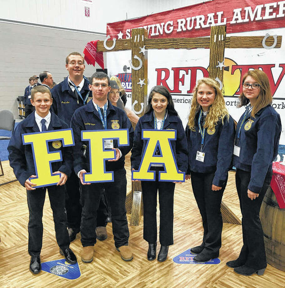 Members of the Franklin FFA recently attended the National FFA Convention. Those attending included Jack Kindred (from left), Cole Baker, Isabella Borcky, Bethany Bergschneider and Zoe Graves. Photo: Photo Provided