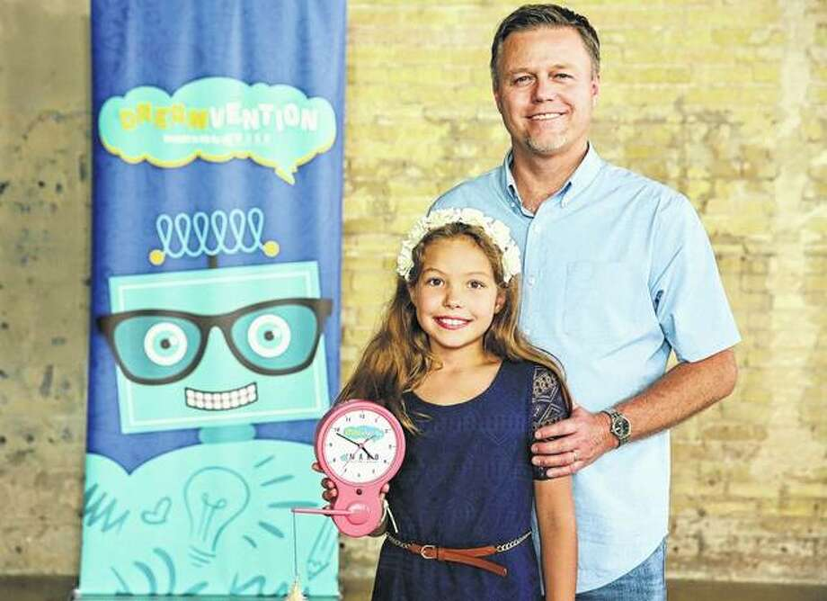 Dreamvention finalist Maria Delong and her father, Waverly native Darren Delong, arrive Sept. 5 at the finalist event for the Frito-Lay Dreamvention competition in Austin, Texas. Photo: Photo Provided