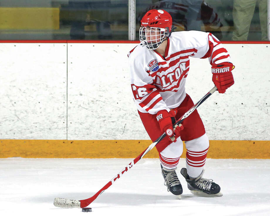 Tanner St. Peters scored a pair of goals, including the game-winner with 1:14 remaining in the third period, in the Redbirds' 3-1 playoff victory over Highland in Granite City Thursday night. Photo: Billy Hurst File Photo | For The Telegraph