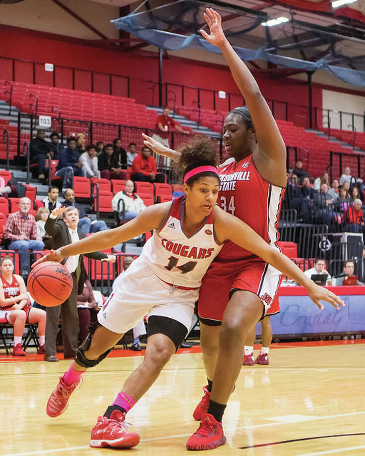 SIUE's Micah Jones (left) drives on Jacksonville State's Rayven Pearson during their OVC women's basketball game Saturday afternoon at Vadalabene Center in Edwardsville. Photo: SIUE Athletics