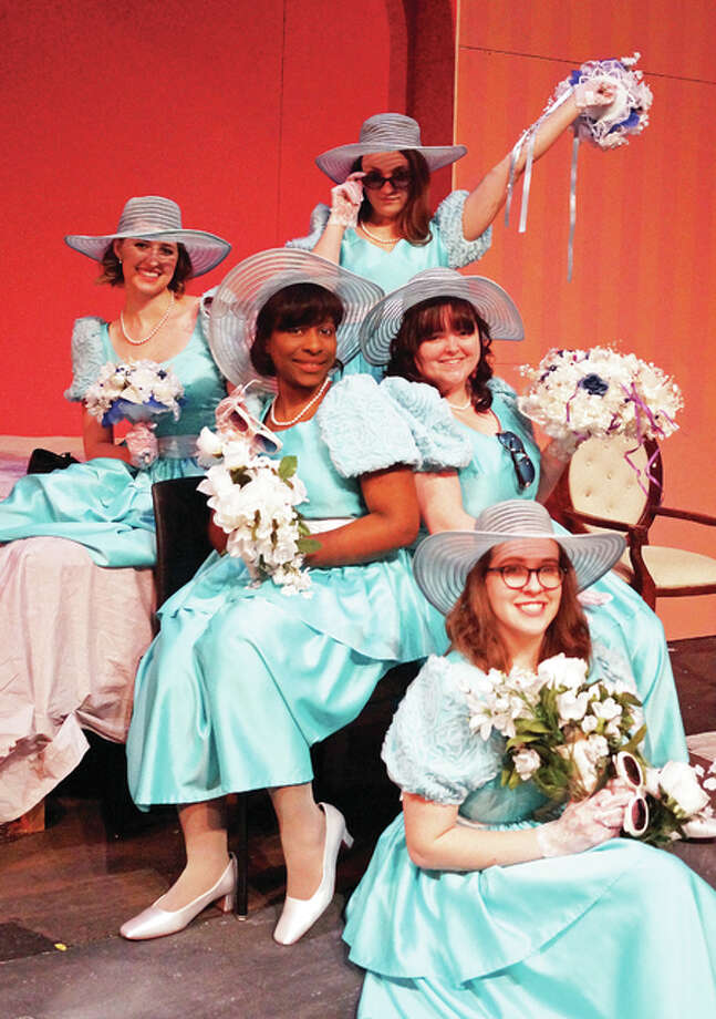 """Taylor Kelly, front, Kayla Bush and Emily Schneider, center, from left, and Hannah Warntjes, and Monica Buschor, rear, from left, will appear in Southern Illinois University Edwardsville's """"Five Women Wearing the Same Dress,"""" opening Wednesday, Feb. 15."""