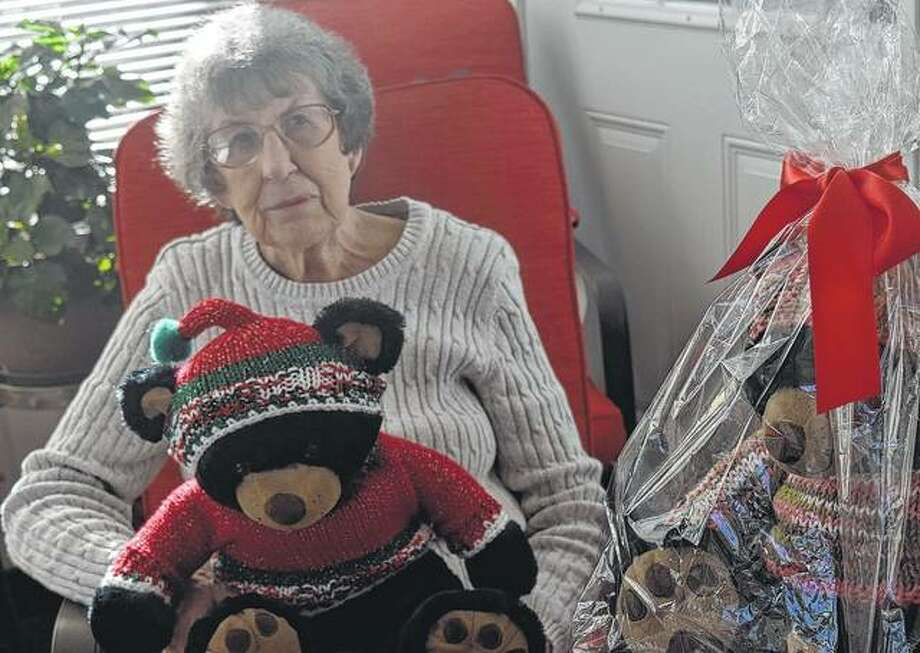 Barb Newman has spent the past year creating sweaters and hats for 44 bears she will donate to Toys for Tots and Passavant Area Hospital. Photo: Samantha McDaniel-Ogletree | Journal-Courier