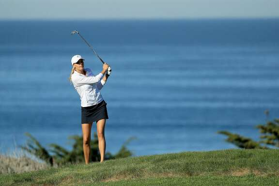 PEBBLE BEACH, CA - FEBRUARY 08:  Kelly Rohrbach plays her shot on the fourth hole during Round One of the AT&T Pebble Beach Pro-Am at Spyglass Hill Golf Course on February 8, 2018 in Pebble Beach, California. (Photo by Mike Ehrmann/Getty Images)