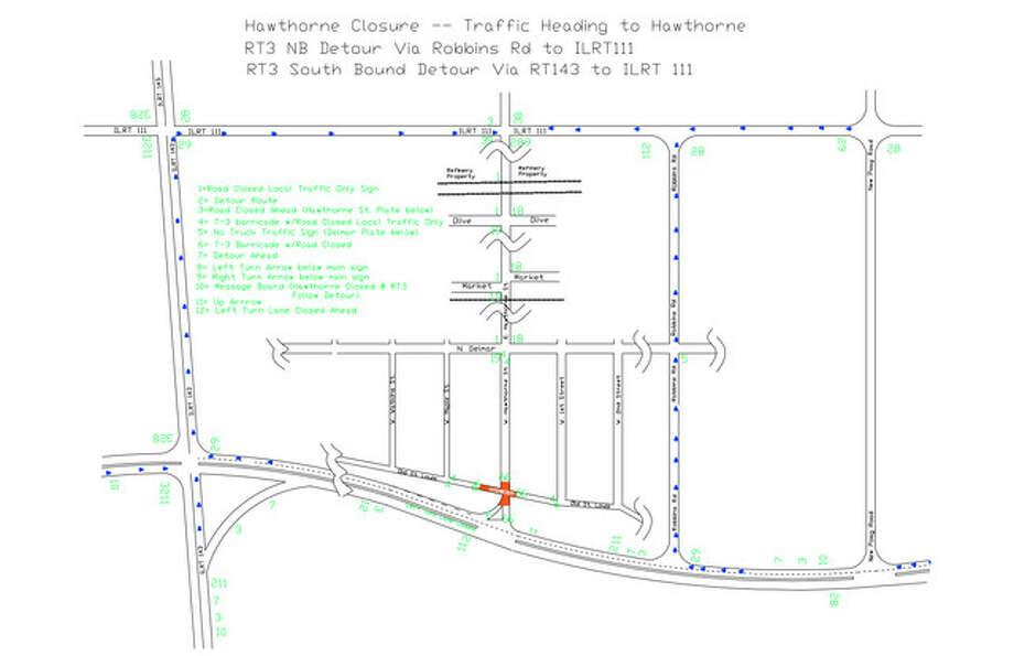 The intersection closure is shown in orange. The map has been rotated, where the top of the map is East.