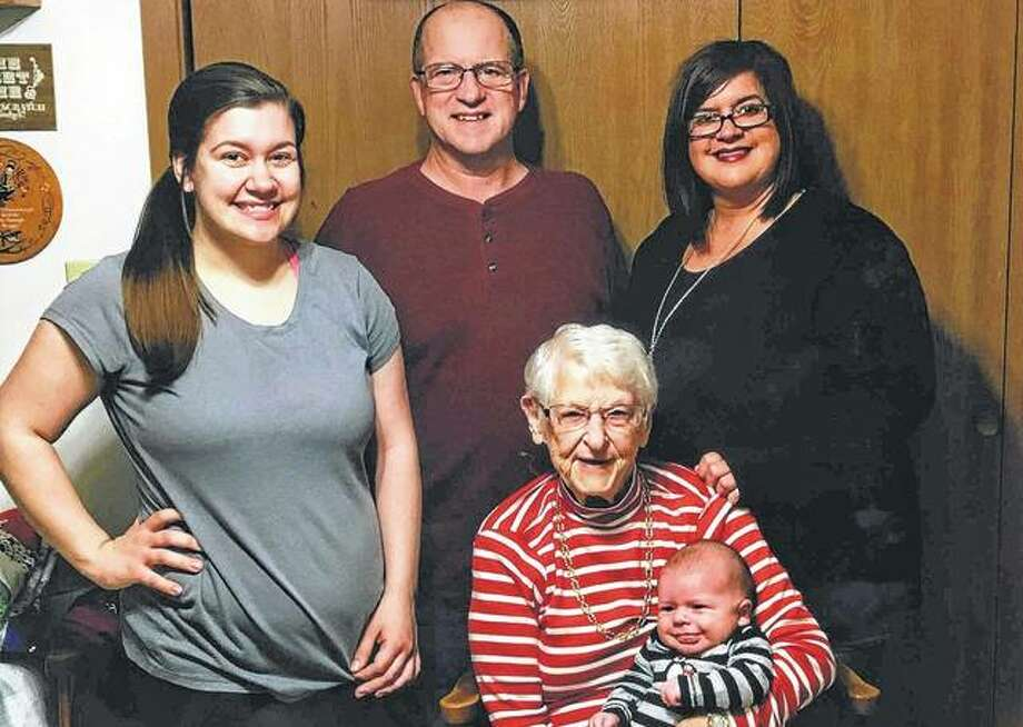 Five generations of the Sylvia Sudeth Foster family recently gathered. They include Foster (seated center), holding her great-great-grandson, Westley Smith; Westley's great-grandfather, Steve Foster; Westley's grandmother, Stephanie Foster Pollitt (right); and Westley's mother, Kaitlin Pollitt. Photo: Photo Provided