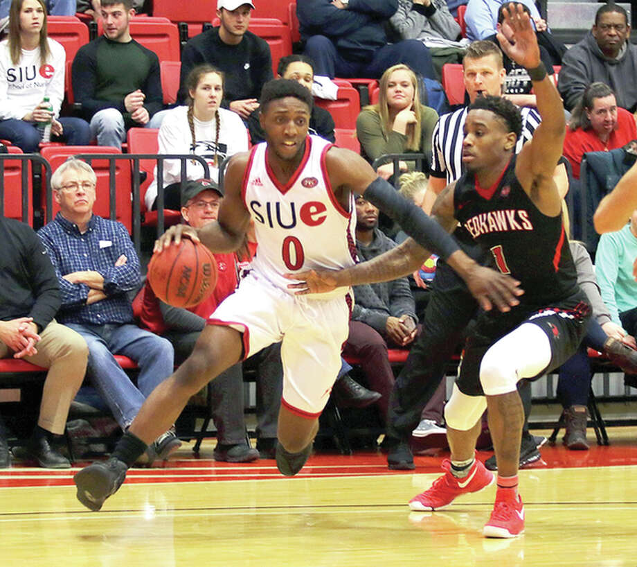 SIUE's Carlos Anderson, left, drives against Southeast Missouri Thursday night at the Vadalabene Center. Photo: SIUE Athletics