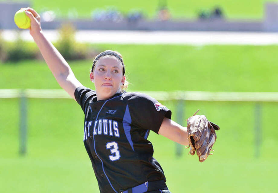 Maddie Baalman, a junior from Calhoun High School, tossed a one-hitter Friday for Saint Louis University in the Billikens' 1-0 win over Morehead State in the opening round of the Phyllis Rafter Memorial Tournament at Kennesaw State University in Kennesaw, Georgia. Photo: SLU Athletics