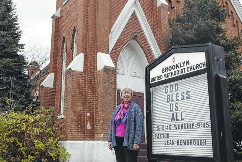 Pastor Jean Hembrough stands outside Brooklyn United Methodist Church at 865 S. East St. The church will close its doors Jan. 7.