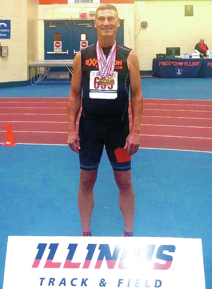 Wood River's Mike Young captured eight gold medals in two meets earlier this month as he began the 2017 Seniors Track season. He is pictured above after winning four golds at the Masters and Open Indoor Track and Field Championships at the University of Illinois. Photo: Submitted Photo