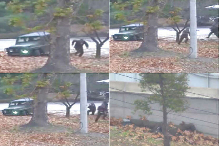 A combination of images made from surveillance video released by the United Nations Command shows a North Korean soldier running from a jeep and then shot by North Korean soldiers in Panmunjom, North Korea, before collapsing across the border in South Korea.