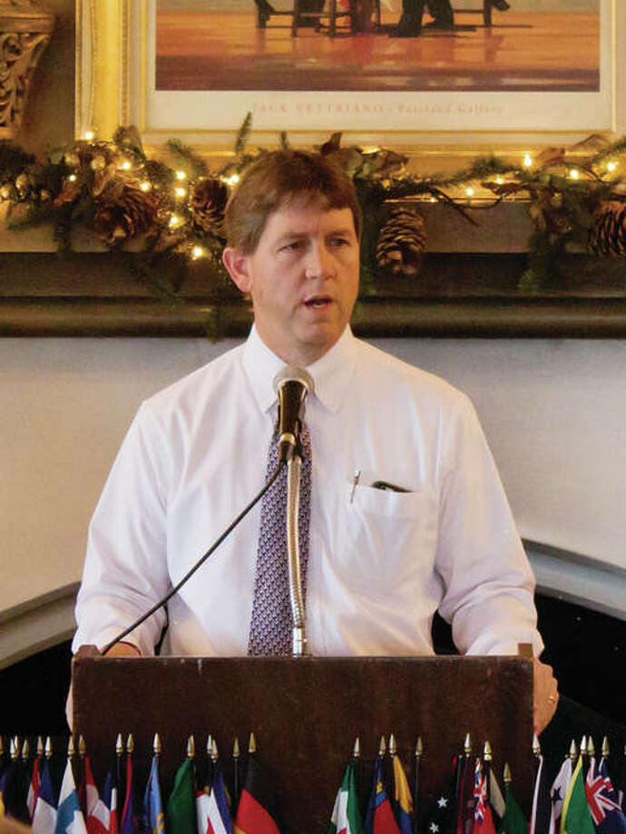 Routt Catholic High School basketball coach Will Whalen spoke at a recent Kiwanis Club of Jacksonville meeting. Whalen said the Rockets had 10 wins his first season as coach and 20 his second; he has high hopes for the current season. He said the school also has replaced lighting and the floor in the gym. Photo: Photo Provided
