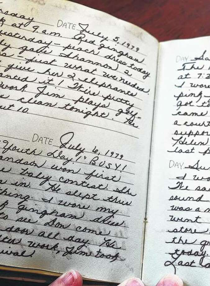 A diary found in the basement ceiling of a Beardstown house has a final entry of 1979. The property owners hope to find the owner of the keepsake. Photo: Samantha McDaniel-Ogletree | Journal-Courier