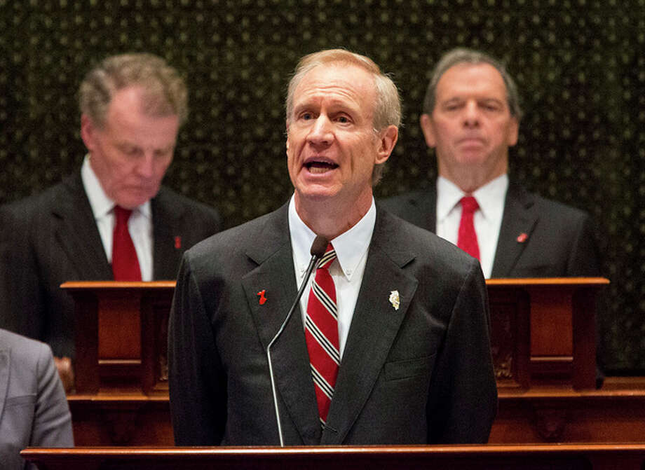 Illinois Gov. Bruce Rauner delivers his budget address to a joint session of the General Assembly at the Capitol Wednesday, Feb. 15, 2017, in Springfield, Ill.