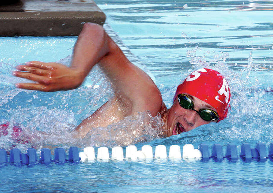Alton High's Cole Akal is seeded No. 4 in the 100-yard freestyle in Saturday's IHSA Springfield Sectional Meet. Photo: Telegraph File Photo