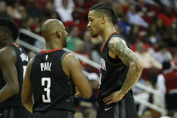 Houston Rockets guards Gerald Green (14) and Chris Paul (3) during the first half of an NBA bassketball game at Toyota Center, Friday, Feb. 9, 2018, in Houston.  ( Karen Warren / Houston Chronicle )