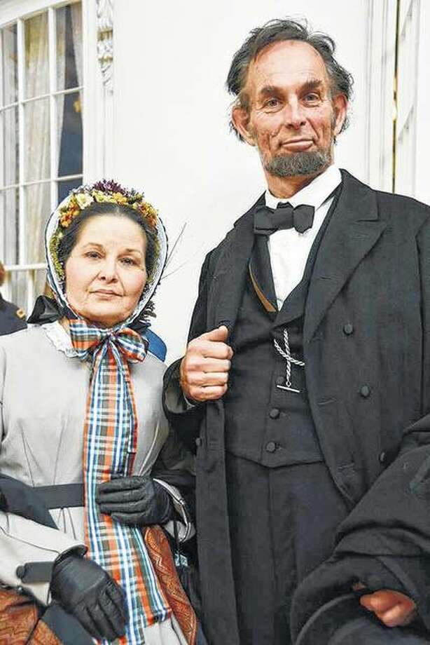 "Pam Brown and Fritz Klein portray Mary Todd and Abraham Lincoln in the Ken Bradbury play ""Message at Midnight."" The show is being performed Friday and Saturday at the Ulysses S. Grant National Historic Site in St. Louis. Photo: Photo Provided"