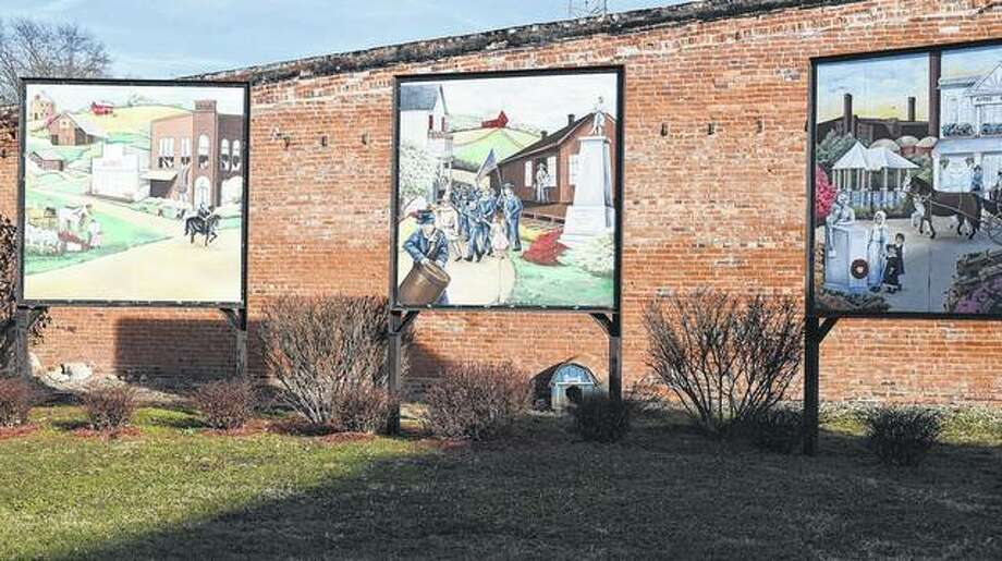 North Greene Garden Club is trying to raise money to preserve and maintain three murals depicting events or locations in White Hall history. The murals are at South Main Street and Sherman Avenue in White Hall. Photo: Samantha McDaniel-Ogletree | Journal-Courier