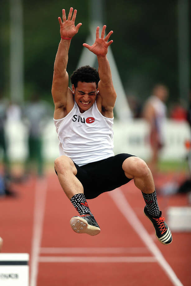 SIUE's Julian Harvey, an Edwardsville High grad, soared 26 feet, 5.5 inches on Feb. 10 at the Tyson Indoor Invitational in Fayetteville, Arkansas, to set a school record and establish the best indoor mark in the nation. Photo: File Photo