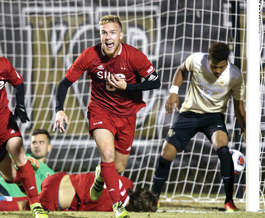 SIUE's Austin Ledbetter celebrates after scoring in the NCAA Tournament third round last fall at Wake Forest. Ledbetter has signed a free-agent contract with Saint Louis FC of the United Soccer Leagues.