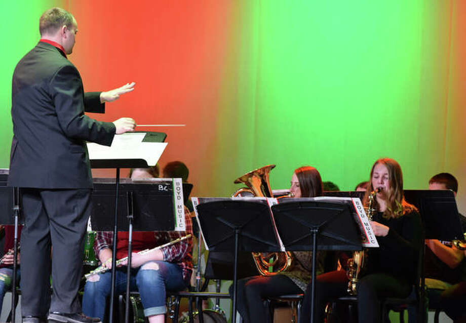 The Brown County High School band performs Christmas carols during the grand opening of the newly remodeled auditorium Friday. Photo: Samantha McDaniel-Ogletree | Journal-Courier