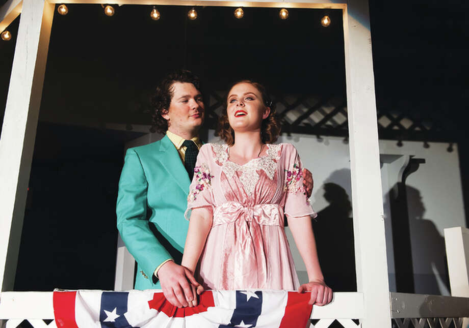 """Scenes from this year's dress rehearsals for Roxana High School's """"The Music Man,"""" opening at 7 p.m. Friday. The plot includes con man Harold Hill who poses as a boys' band organizer/leader and sells band instruments and uniforms to naive Iowa townsfolk, promising to train the members of the new band, but never intends to give music lessons. He and prim librarian Marian fall in love. Photo: Chuck Sheets