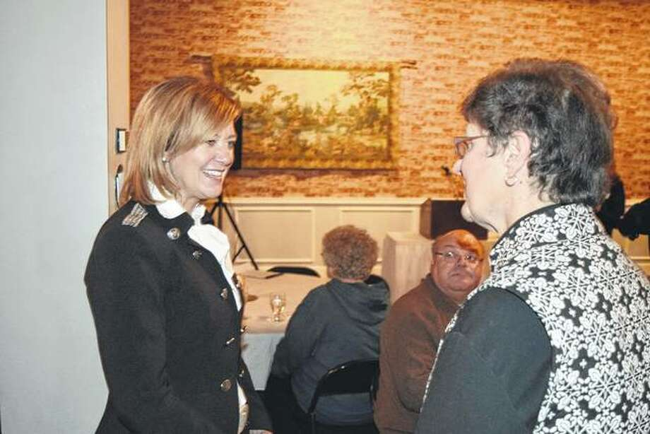 Republican gubernatorial candidate and state Rep. Jeanne Ives (left) speaks with Barb Baker of Jacksonville on Tuesday during a reception for Ives at Hamilton's. Photo: Greg Olson | Journal-Courier