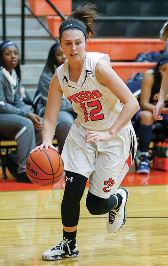 Edwardsville's Makenzie Silvey, shown in a game earlier this season, led the Tigers to a Class 4A sectional title Thursday night at Normal. Photo: Scott Kane / For The Telegraph