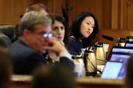 Supervisor Jane Kim listens as the public comments as San Francisco Board of Supervisors discuss naming an interim mayor at City Hall in San Francisco, Calif., on Tuesday, January 23, 2018.