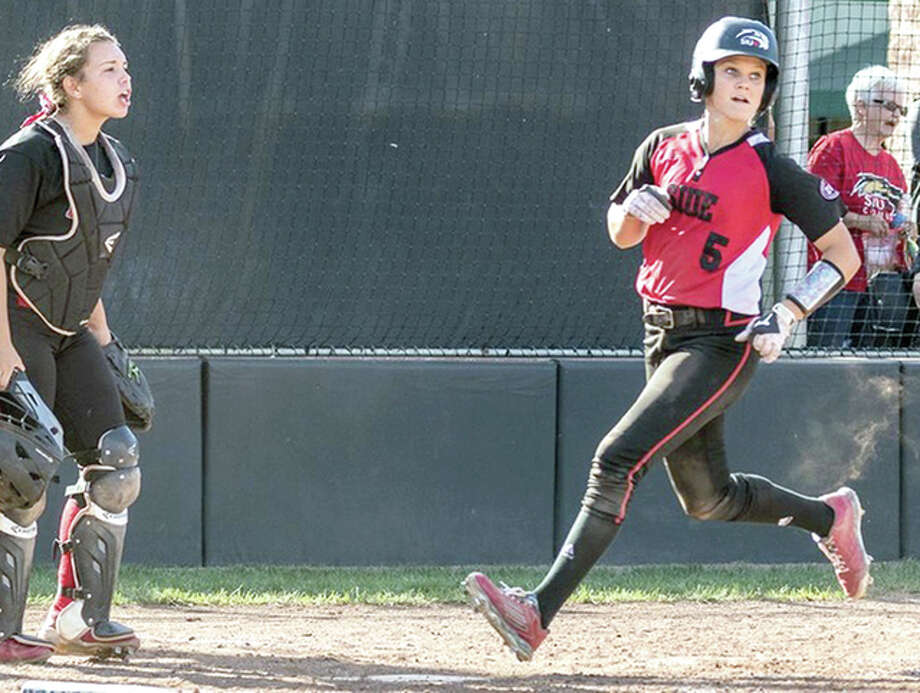 Alyssa Heren of SIUE, right, had a pair of doubles in an 8-6 wn over St. Francis Friday at the Baylor Tournament in Waco, Texas. SIUe also dropped a 4-0 decision to host Baylor.