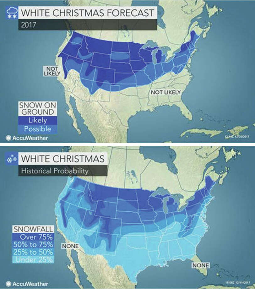 AccuWeather maps show the possible track of a fast-moving winter storm system and the historical likelihood of a white Christmas across the nation.