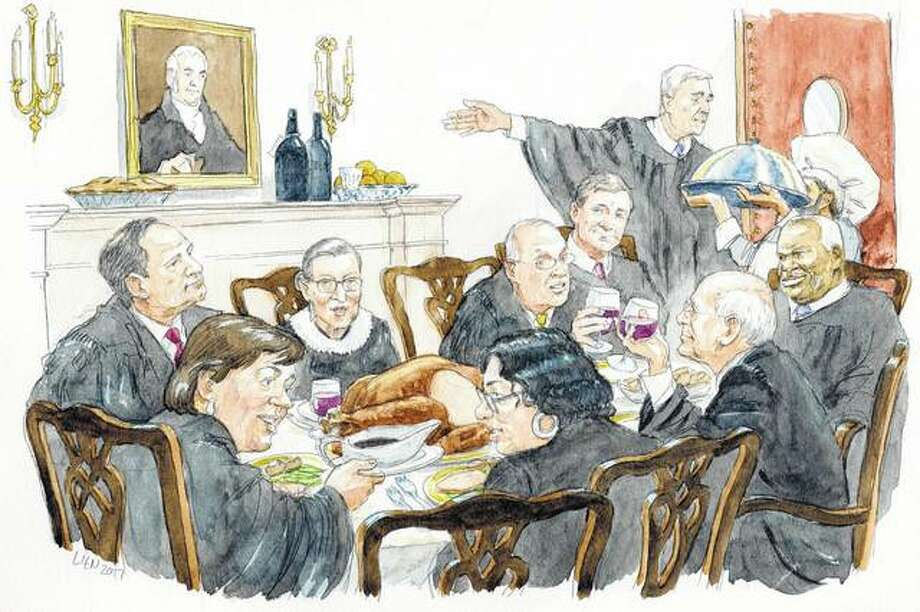 "This illustration provided by Art Lien via the Supreme Court Historical Society from ""Table for 9: Supreme Court Food Traditions & Recipes"" shows the Supreme Court justices eating together, which they do regularly. The new book is part history book, part cookbook. It includes more than three dozen recipes associated with justices and their families. Photo: Art Lien 
