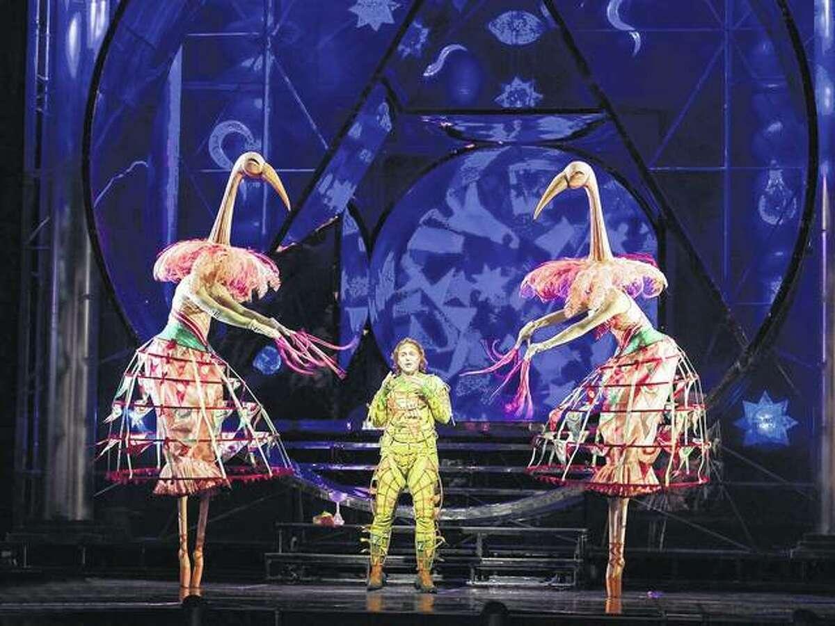"Markus Werba (center) portrays Papageno in Mozart's ""Die Zauberflöte"" (""The Magic Flute"") as realized by Julie Taymor at The Metropolitan Opera."