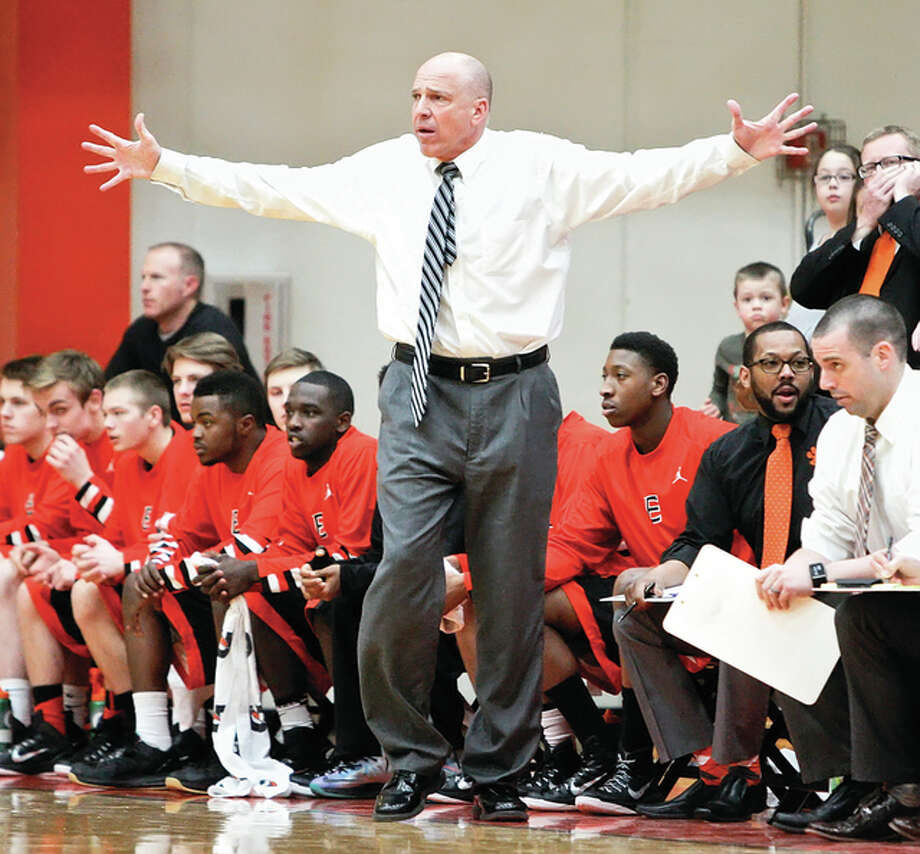 Edwardsville Tigers coach Mike Waldo will lead his team against SWC rival Belleville West in a semifinal game of the Ottawa Class 4A Sectional Tournament. The game will be played at 7 p.mn. Tuesday at Collinsville's Vergil Fletcher Gym. Photo: Telegraph File Photo